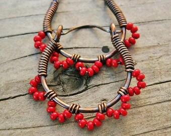 Red Ruffle Bottom Hoops - wire wrapped antiqued copper cuties - seed beaded hoop earrings