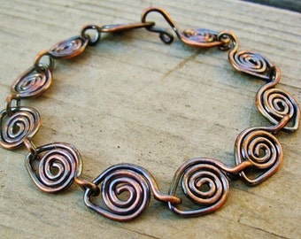 Copper Bracelet - Copper Parade - antiqued copper wire wrapped bracelet - copper wire jewelry