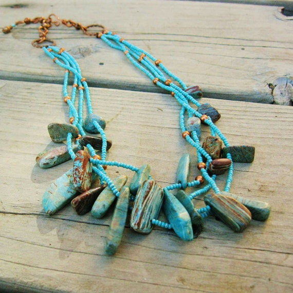 Blue Skies - multi-strand necklace of blue sky jasper and antiqued copper