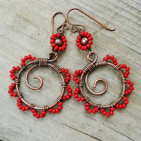 Tango Twirl Red seed bead dangles - Bead Dance wire wrapped antiqued copper hoop dangle earrings