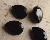 Opaque Jet Black 25X18mm Faceted Crystal Rhinestone Pears 4 Pcs