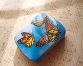Vintage Swiss Tin Printed with Monarch Butterflies - 6 cm X 4.75 cm