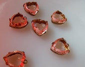 Pink Glass Heart Drops - Rosaline Vintage Glass in Oxidized Brass Settings - 12mm - 6