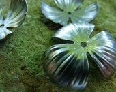 Steel Dapped 32mm Domed Striped Flower Petals 6 Pcs
