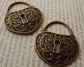 Lovely Lion Heart Padlock Charms Antiqued Brass 2 Pcs