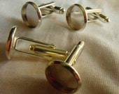 Silver Cuff Link Findings 12mm Pad Setting Choose Your Quantity