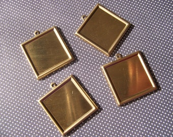Brass Square 26mm Charm Pendants with 20mm Settings 4 Pcs