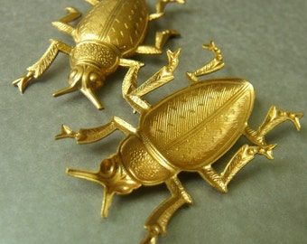 Brass Beetle Stampings 45X32mm 2 Pcs