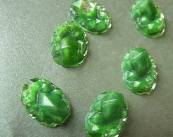 Vintage Baroque Green Geode Style Bumpy Glass Foiled Cabochons 14x10mm Flat Back Ovals