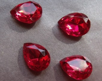Rose Pink 15x11mm Pear Glass Gems Foiled 4