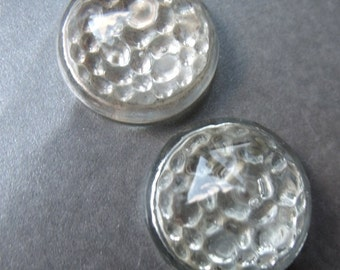 Crystal Clear 21mm Vintage Round Glass Reflectors 2 Pcs