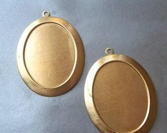 Oval 40X30mm Brass Portrait Settings 2 Pcs