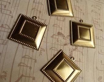 Brass 20mm Square 10mm Settings Charms 6 Pcs