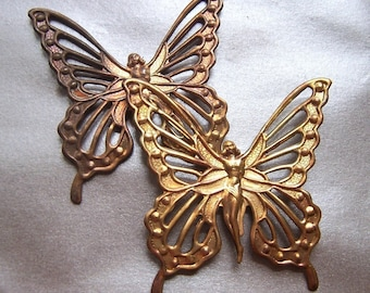 Butterfly Fairy Dapped Antiqued Pierced Stamping 7cm or 3 inches 2 Pcs