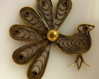 Peacock Fancy Filigree Finding  Brass Ox Plated 38X38mm 2 Pcs