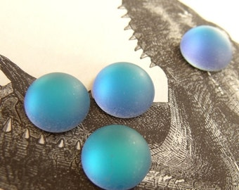 Ethereal Matte Helio Blue 13mm foiled Round Glass Cabs 4 Pcs