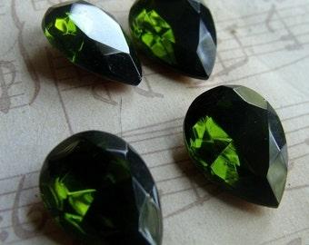 Olivine Green 18X13mm Pear Glass Gems Foiled 4 Pcs