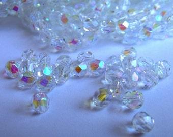 Crystal AB 6mm Fire Polished Beads 25 Pcs
