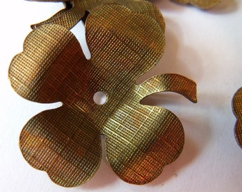 Shamrock or Dogwood Blossom 34mm Textured Brass Stampings 4 Pcs