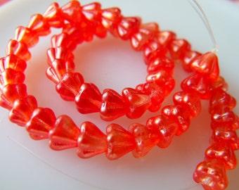 Silky Tangerine 4X6 Baby Bellflowers Coated Lustrous Orange Glass Beads 50 Pcs