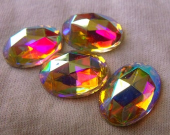 Crystal AB Rauten Rose 18X13mm Oval Glass Flat Backs 4
