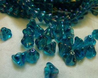 Admiral Blue Luster Bellflower 8X6mm Beads  25 Pcs