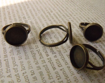 Brass Ox Rings with 12mm Round Settings 4 Pcs