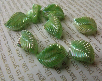 Vintage Peridot Green Moonstone AB 15X9mm Glass Leaf Cabochons 6 Pcs
