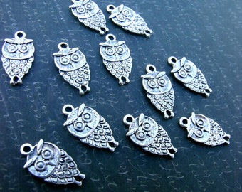 Owl Connectors Antiqued Silver Plated Alloy 18x10mm 10 Pcs