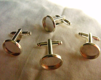 Silver Cuff Link Findings 12mm Round Pad Settings Two Pairs