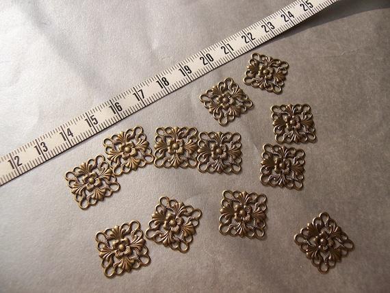 Square Antiqued Gold Filigree Components - 16mm - twelve SALE