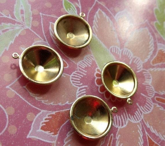 Brass Rivoli Slimline Settings Single Loop - 12mm - four