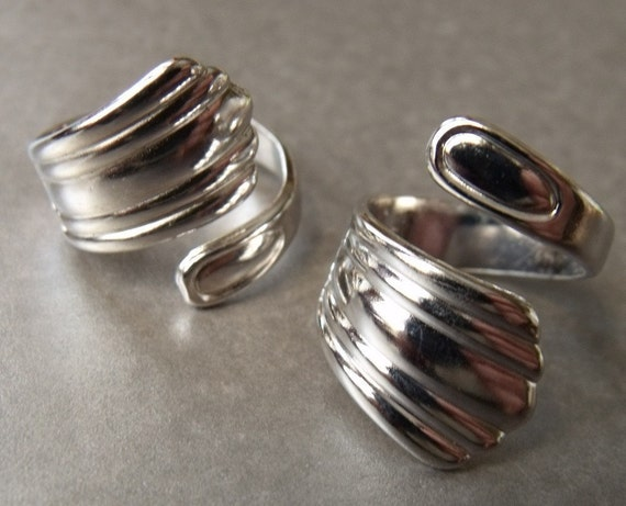 Spoon Rings Adjustable Silver-Toned 2 Pcs