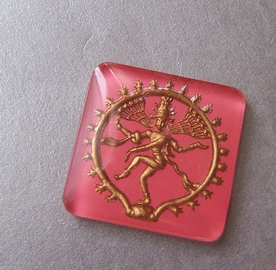 Vintage Glass Shiva Nataraj Pink and Gold Intaglio Cabochon - 24X25mm - one