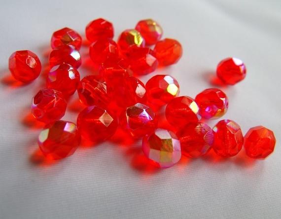 Hyacinth AB 8mm Round Fire Polished Glass Beads 25 Pcs