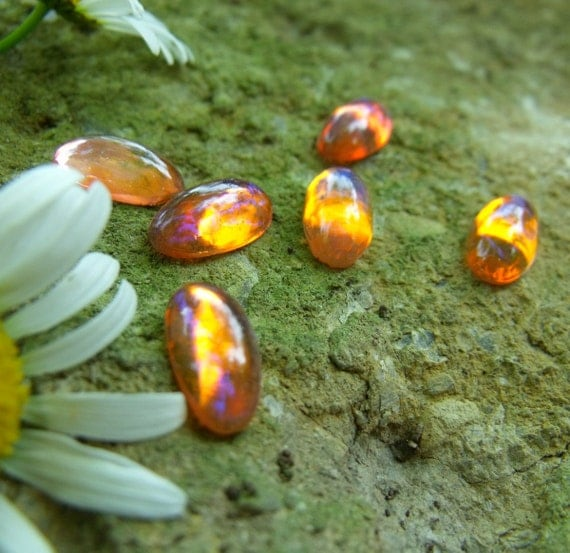Vintage Mexican Opal or Dragons Breath 14x7mm Glass Cabochons 6