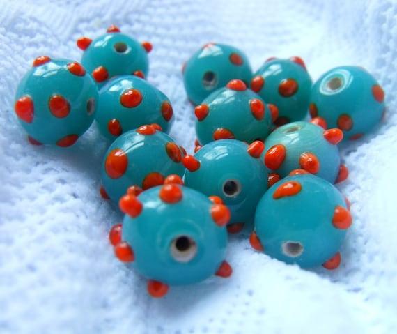 SALE Turquoise and Orange Vintage Glass Beads 10mm Sputnik Rounds 12