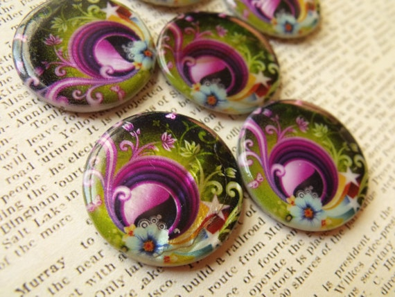 Black Peacock Psychadelic 30mm Printed Shell Disc Beads 6 Pcs