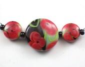 Handmade Lampwork Beads Poppy Garden set 3