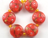 Handmade Lampwork Beads Glints and Poppies set 6 CD Lampwork