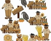 Buy 1 Get 1 Free Primitive Fall Scarecrow Gingers Sunflowers Crows Pumpkins Autumn Gingerbread Girls Clip Art Graphics