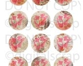 Buy 1 Get 1 Free Antique Roses Pink Ballerina Shoes No.2 CoLLaGE 2 Inch Circles ShEEt