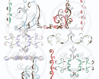 Buy 1 Get 1 Free 40 Boutique Swirls Graphic Clip Art Fancy Chic Collection