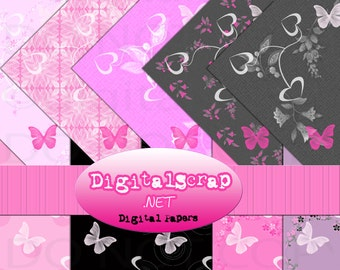 Buy 1 Get 1 Free Pink Butterfly Heart Flower Digital Scrapbooking 10 Paper Pack INSTANT DOWNLOAD
