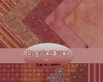 Buy 1 Get 1 Free Hipster Rusty Rose Digital Scrapbooking 10 Paper Pack 12x12 300 dpi Cu Printable