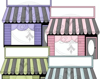 BUY 1 GET 1 FREE Boutique Shop Fronts Pink - Blue - Purple - Green Graphics