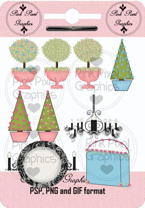 Buy 1 Get 1 Free Boutique Decor Elements Topiaries Chandelier Clip Art Graphics