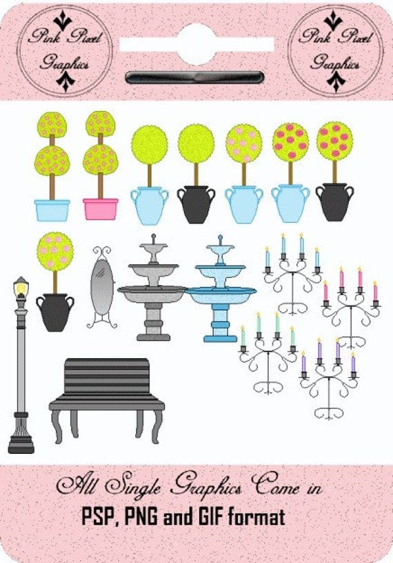 Buy 1 Get 1 Free Boutique Decor Decor Fountains Candleabras and More Clip Art Graphics Instant Download