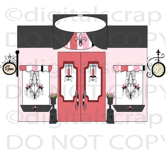 items similar to buy 1 get 1 free paris boutique shop store front pink girly graphic clip art. Black Bedroom Furniture Sets. Home Design Ideas
