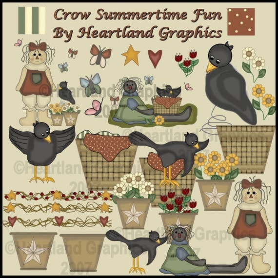 Buy 1 Get 1 Free Primitive Country Crows Sunflower Raggedy Extreme Prim Americana Clip Art Graphics